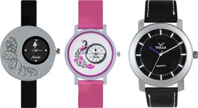 VOLGA Designer FVOLGA Beautiful New Branded Type Watches Men and Women Combo87 VOLGA Band Analog Watch  - For Couple