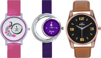Frida Designer VOLGA Beautiful New Branded Type Watches Men and Women Combo571 VOLGA Band Analog Watch  - For Couple