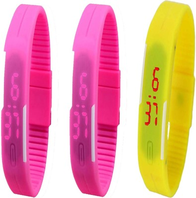Twok Combo of Led Band Pink + Pink + Yellow Digital Watch - For Boys, Couple, Girls, Men, Women