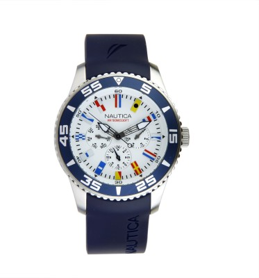 Nautica NTA12627G Brushed/Polished Silver Case, Silver Dial, NST 07 FLAGS series, Resin Strap Analog Watch  - For Men