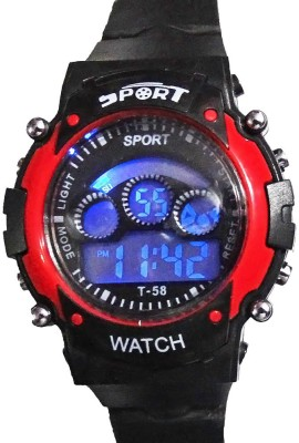 Hala Red In Black Sport Digital Watch  - For Boys, Girls