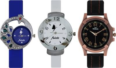 Frida Designer VOLGA Beautiful New Branded Type Watches Men and Women Combo535 VOLGA Band Analog Watch  - For Couple