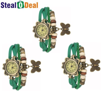 Stealodeal Green Rakhi Retro Style Butterfly Analog Watch  - For Boys, Couple, Girls, Men, Women