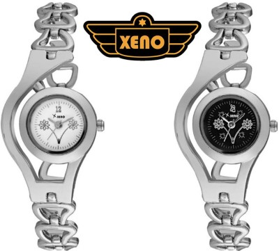 xeno FL256 Combo of 2 Casio.s Sleek Silver Metal Black White Dial foggy laurelsie Analog Watch  - For Women, Girls