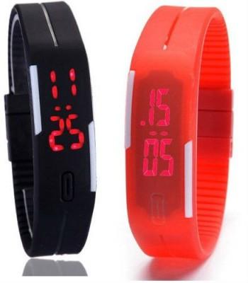 Frenzy Combo-Slim-LED-Black-Red Digital Watch  - For Men, Boys
