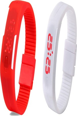 Y And D Combo of Led Band Red + White Digital Watch - For Boys, Couple, Girls, Women, Men