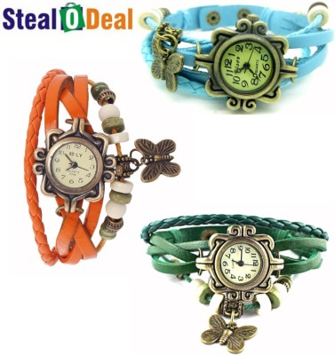 Stealodeal Beautiful Colors Vintage Style Butterfly Analog Watch  - For Boys, Couple, Girls, Men, Women