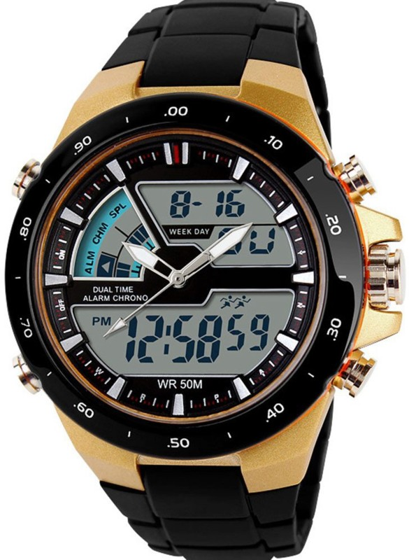 Abrexo FF S 1016 Gold Sportslook Analog Digital Watch For Men
