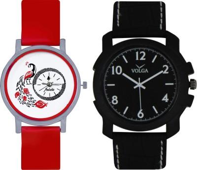 Frida Designer VOLGA Beautiful New Branded Type Watches Men and Women Combo156 VOLGA Band Analog Watch  - For Couple