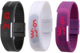 intricate Led Band Watch Combo of 3 Blac...