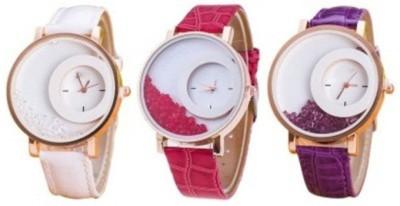 Mxre K-00138 White Pink Purple Wrangler Diamonds Analog Watch  - For Girls, Women