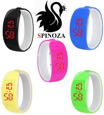 SPINOZA black pink blue yellow green sporty digital stylish watches set of 5 Digital Watch  - For Boys