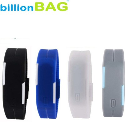 billionBAG | High Quality Black, White, Grey and Blue Color Combo Led Digital Watch    For Boys, Men, Girls, Women, Couple available at Flipkart for Rs.299