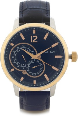 Nautica NAI16501G Brushed Polished Silver Case with Rose Gold Top Ring Analog Watch  - For Men