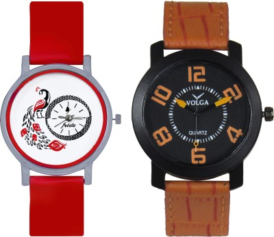 Frida Designer VOLGA Beautiful New Branded Type Watches Men and Women Combo162 VOLGA Band Analog Watch  - For Couple