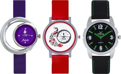 Frida Designer VOLGA Beautiful New Branded Type Watches Men and Women Combo686 VOLGA Band Analog Watch  - For Couple