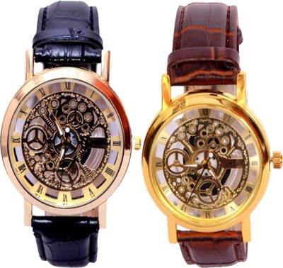 Mobspy Combo Of BT-20 Transparent Golden Case Stylish Watch Analog Watch  - For Men