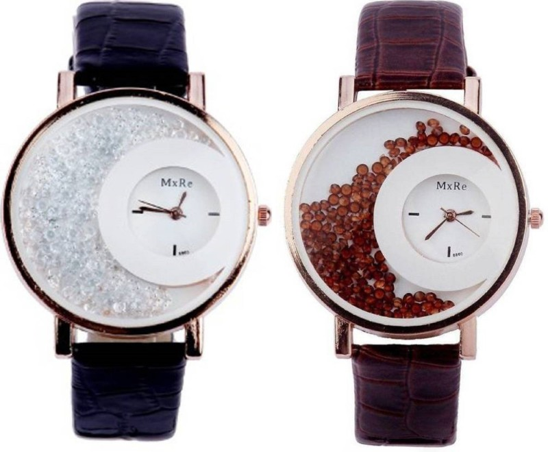 SPINOZA mxre black and brown movable diamond beads in dial watch