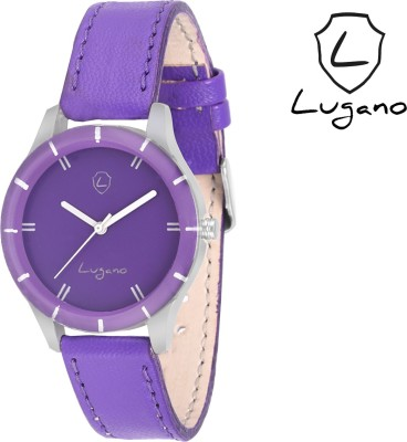 Lugano DE2012 Purple Leaher Analog Watch  - For Women, Girls