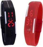 Fashion Gateway Black and Red Led Magnet Band (pack of 2) Black and Red Digital Watch  - For Boys & Girls best price on Flipkart @ Rs. 288
