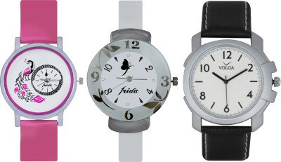 Frida Designer VOLGA Beautiful New Branded Type Watches Men and Women Combo635 VOLGA Band Analog Watch  - For Couple