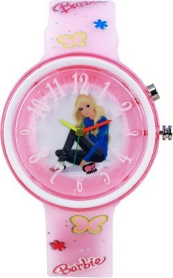 Cosmic Cosmic Amazing Light Pink Barbie Kids Watch With Multi Colour Light. B-01 Analog Watch  - For Girls