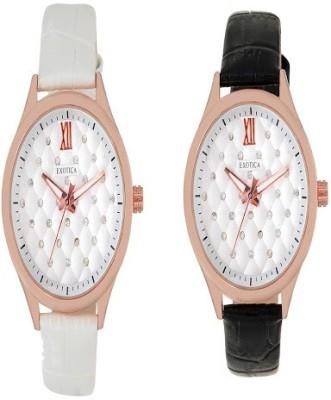 Exotica Fashions Combo-EFL-708-Black&White Basic Analog Watch  - For Women