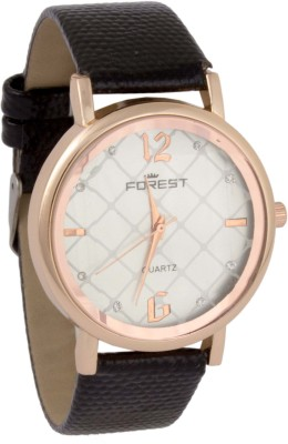 Forest Addic Black Strap White Printed Multiple Box Dial (26) Analog Watch  - For Women