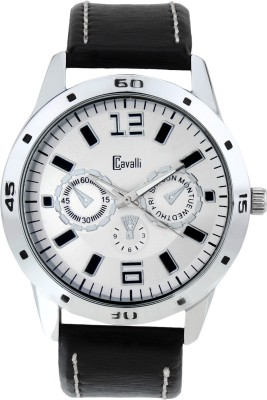 Cavalli CW110 Silver Dial Black Leather Strap Analog Watch  - For Men, Boys