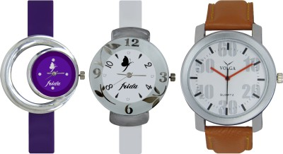 Frida Designer VOLGA Beautiful New Branded Type Watches Men and Women Combo724 VOLGA Band Analog Watch  - For Couple