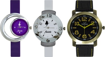 Frida Designer VOLGA Beautiful New Branded Type Watches Men and Women Combo730 VOLGA Band Analog Watch  - For Couple