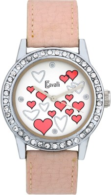 Cavalli CW099 Designer Hearts White Dial Pink Leather Analog Watch  - For Women, Girls