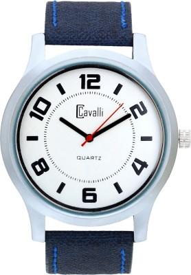 Cavalli CW096 White Designer Dial Blue Leather Strap Analog Watch  - For Men, Boys