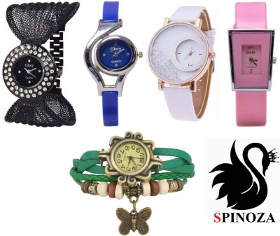 SPINOZA glory multicolor watches and mxre pink leather belt watches for girls set of 5 Analog Watch  - For Women