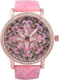 3WISH Pink Dial PU Strap Analog Watch  -...