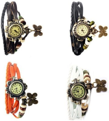 Felizer Pack of 4 Multi Strap Fancy Butterfly Bracelet Vintage Analog Watch  - For Women