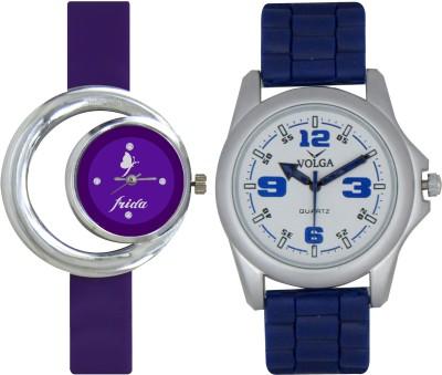 Frida Designer VOLGA Beautiful New Branded Type Watches Men and Women Combo113 VOLGA Band Analog Watch  - For Couple