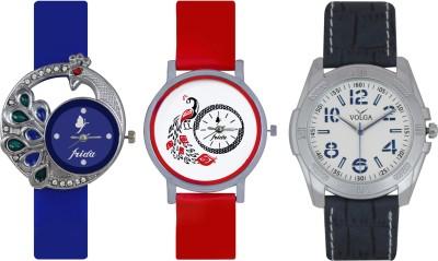 Frida Designer VOLGA Beautiful New Branded Type Watches Men and Women Combo499 VOLGA Band Analog Watch  - For Couple