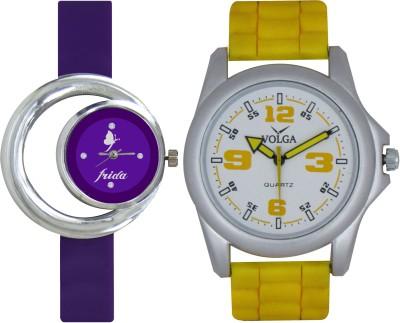 Frida Designer VOLGA Beautiful New Branded Type Watches Men and Women Combo115 VOLGA Band Analog Watch  - For Couple