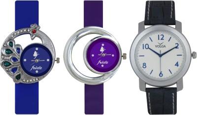 Frida Designer VOLGA New Branded Type Watches Men and Women Combo449 VOLGA Frida Couple Analog Watch  - For Couple