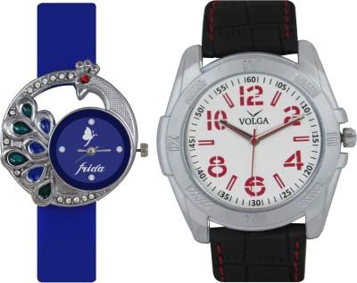 Frida Designer VOLGA Beautiful New Branded Type Watches Men and Women Combo60 VOLGA Band Analog Watch  - For Couple