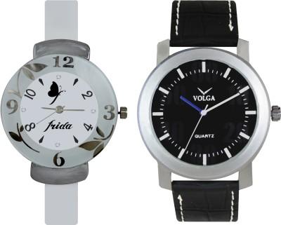 VOLGA Designer FVOLGA Beautiful New Branded Type Watches Men and Women Combo71 VOLGA Band Analog Watch  - For Couple