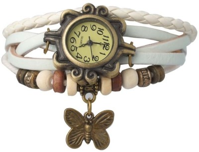 Designculture dgcVINTAGE-White Vintage butterfly Analog Watch  - For Girls