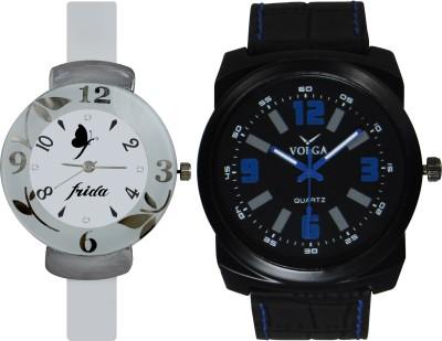 Frida Designer VOLGA Beautiful New Branded Type Watches Men and Women Combo211 VOLGA Band Analog Watch  - For Couple
