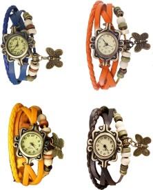 Omen Vintage Rakhi Combo of 4 Blue, Yellow, Orange And Brown Analog Watch - For Women