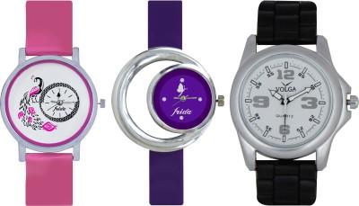 Frida Designer VOLGA Beautiful New Branded Type Watches Men and Women Combo556 VOLGA Band Analog Watch  - For Couple