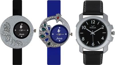 Frida Designer VOLGA Beautiful New Branded Type Watches Men and Women Combo251 VOLGA Band Analog Watch  - For Couple