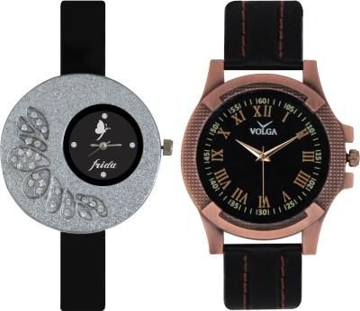 Frida Designer VOLGA Beautiful New Branded Type Watches Men and Women Combo17 VOLGA Band Analog Watch  - For Couple