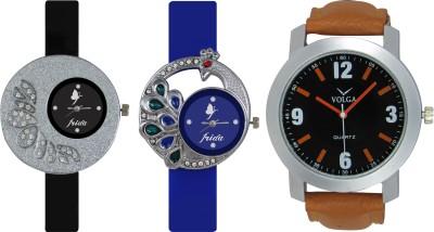 Frida Designer VOLGA Beautiful New Branded Type Watches Men and Women Combo244 VOLGA Band Analog Watch  - For Couple
