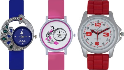 Frida Designer VOLGA Beautiful New Branded Type Watches Men and Women Combo410 VOLGA Band Analog Watch  - For Couple
